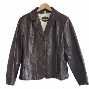 Wilsons Leather notch collar jacket brownLarge XL